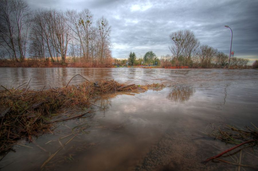 Catastrophe Environment Extreme Weather Flooding Floods HDR High Dynamic Range Landscape Muddy Water Nature Outdoors Road Closed Thaw Water in Göttingen  Germany