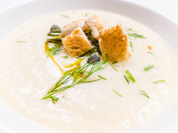 Food And Drink Food Plate Soup Of The Day Porcelain  Gourmet Healthy Eating Toasted Bread Oil Cream Creamsoup Sunflower Seeds Celery Dill Potato