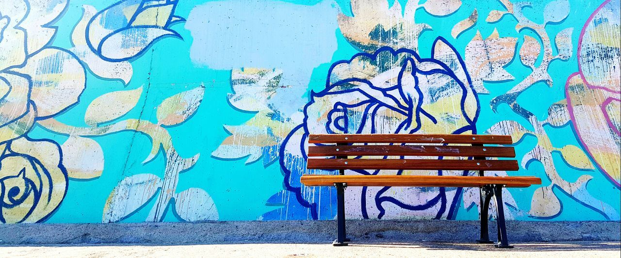 Bench Empty Absence Wall - Building Feature Blue Park Bench Outdoors Day Tranquility Tranquil Scene Paving Stone Worn Out Taking Photos Urban Exploration City Art Enjoying Life Colors Graffiti Graffiti Art Paint Streetphotography Bench Wall Art Wall EyeEmNewHere