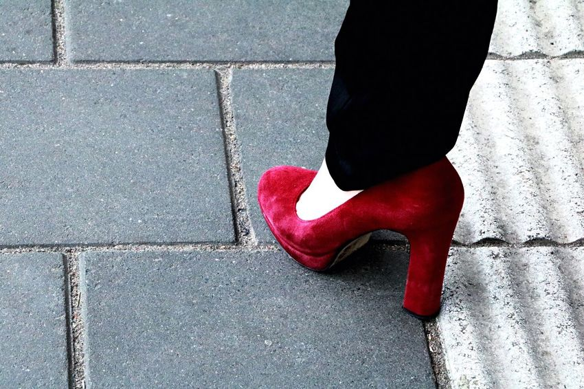 Red Low Section One Person Human Leg Lifestyles Real People Human Body Part Outdoors Women Day Close-up People EyeEmNewHere The Week On EyeEm Pumps Heels Business Life Feminism Station Platform