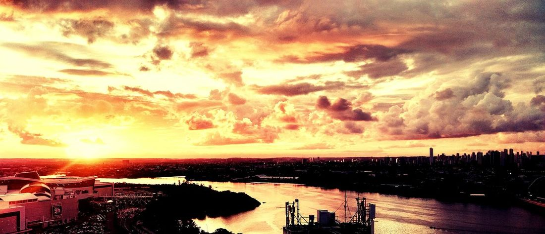 Recife Brazil Sunset Orange Sky Orange Clouds Capibaribe River Paint The Town Yellow Lost In The Landscape