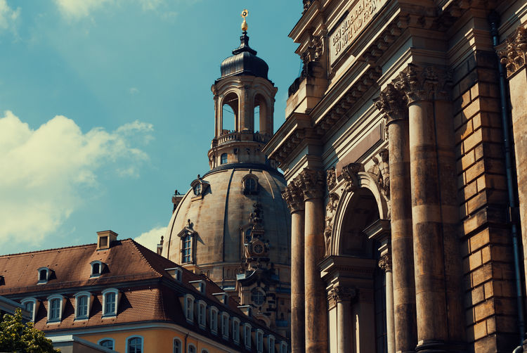 Low angle view of dresden frauenkirche against sky in city