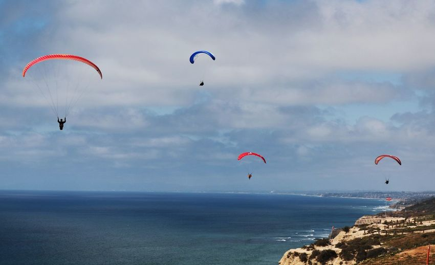 Parachute flying over sea