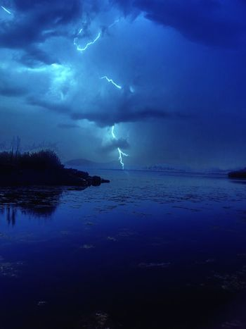 Thunder Lake A lightening bolt strikes the waters surface during a warm thunderstorm. Thunderstorms Lightning Bolt Lightning Flash In Sky Lightening Strikes