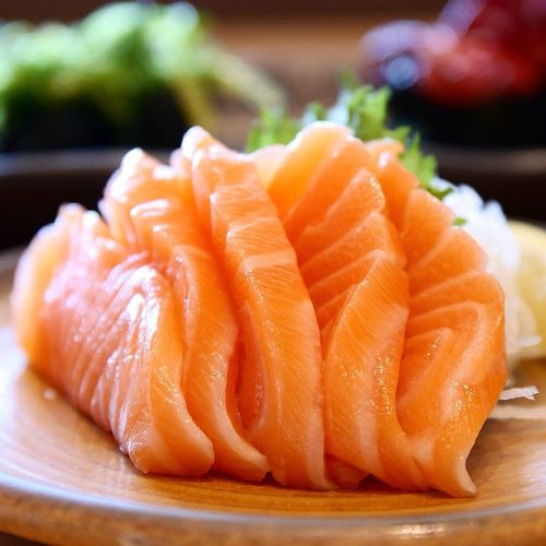 Close-up of salmon on plate