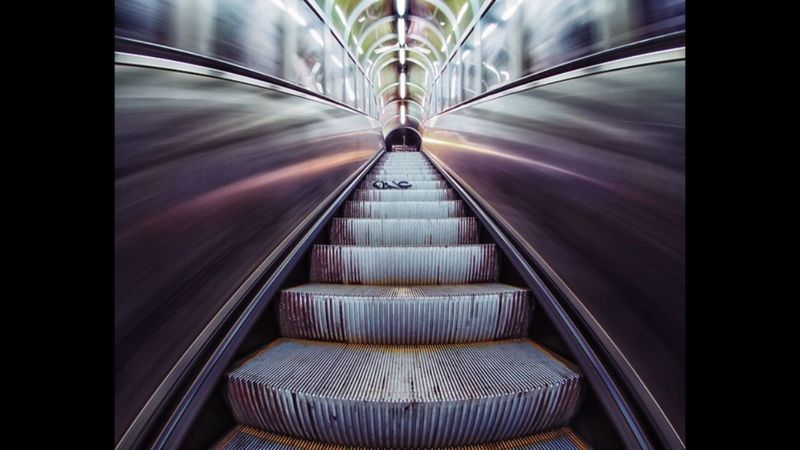Purple La Ferté Alais Darkness Train Station Steps Escalator