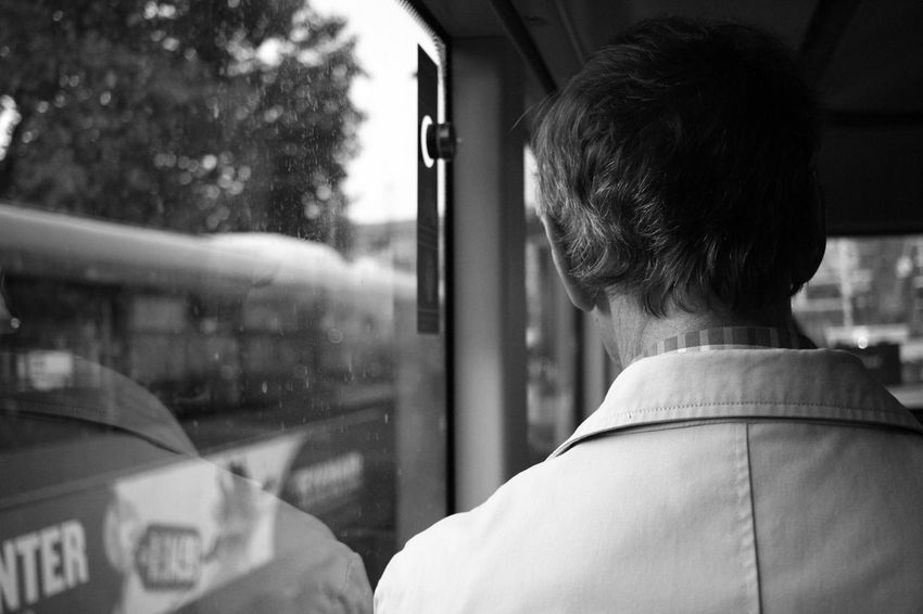 Window One Person Adults Only Only Men Adult Rear View One Man Only Looking Through Window People Real People Reflection Lifestyles Train - Vehicle Transportation Men City Day Human Body Part Indoors  London Black And White Blackandwhite Photography Black And White Collection  Bwcollection Monochrome Discover Berlin The Week On EyeEm EyeEmNewHere Connected By Travel This Is Masculinity