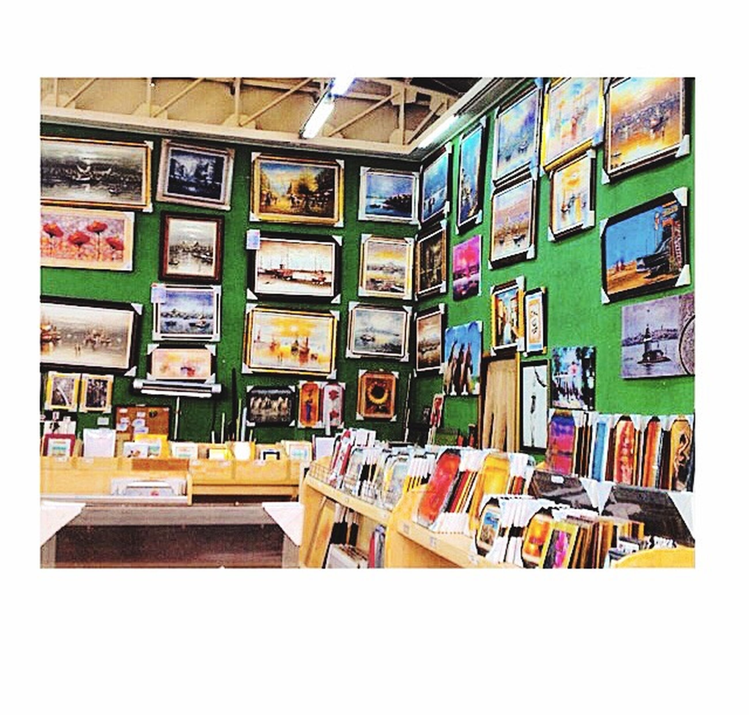transfer print, indoors, large group of objects, arrangement, variation, auto post production filter, shelf, multi colored, abundance, choice, order, in a row, collection, stack, retail, window, no people, built structure, for sale, store
