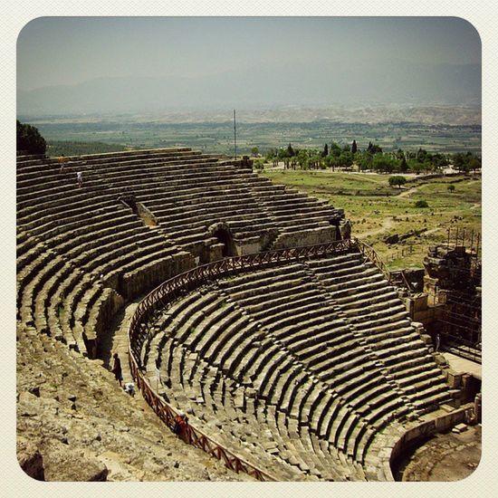 турция Иерополис Памуккале амфитеатр Древность история культура Hierapolis Pamukkale Turkey Antient Hystory Culture Amphitheater