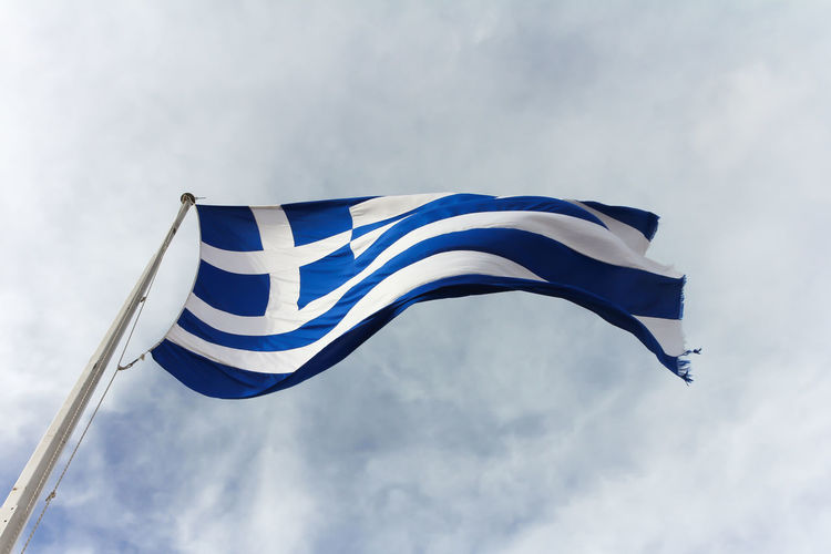 Greek Flag Blue Cloud - Sky Day Emotion Environment Flag Greece Greek Flag Independence Low Angle View Motion National Icon Nature No People Outdoors Patriotism Pole Shape Sine Wave Sky Striped Waving White Color Wind Windy