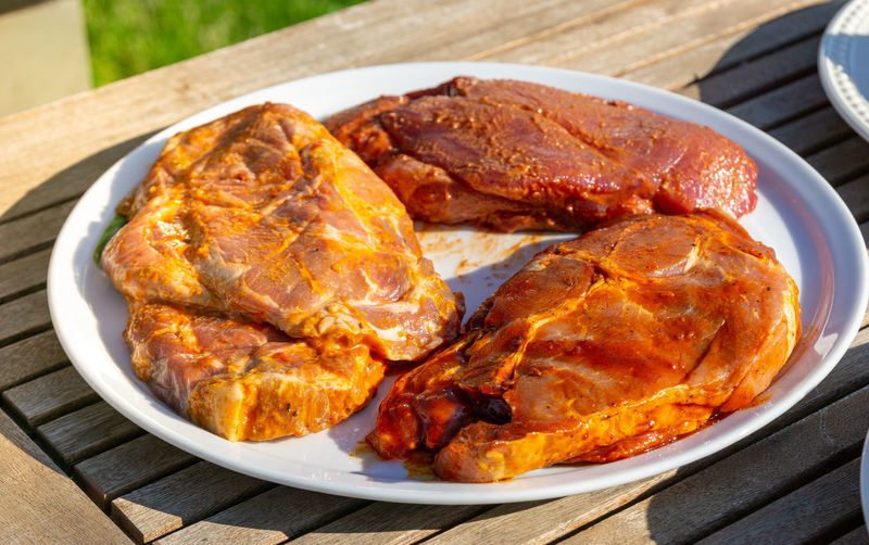 raw meat on a plate - barbecue Food Food And Drink Meat Freshness Still Life Wood - Material Close-up Healthy Eating Ready-to-eat Table Focus On Foreground Day Chicken Meat Plate Wellbeing High Angle View Kitchen Utensil White Meat No People Indoors  Chicken Dinner Barbecue