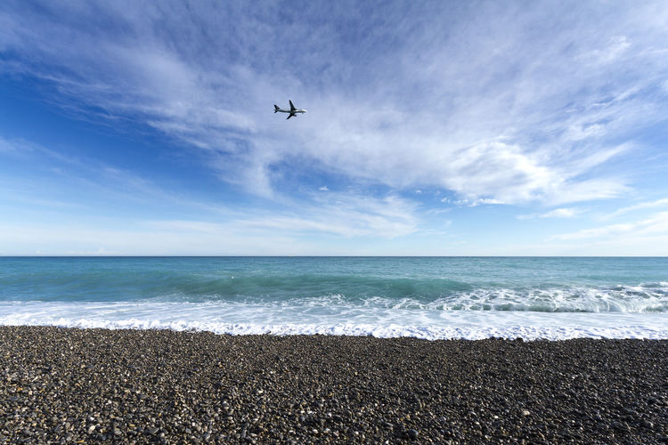 Nice beach, France France Air Vehicle Airplane Beach Beauty In Nature Cloud - Sky Day Europe Flying Horizon Horizon Over Water Nature Nice No People Outdoors Scenics - Nature Sea Sky Travel Water Wave