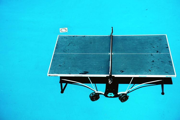 High angle view of table tennis
