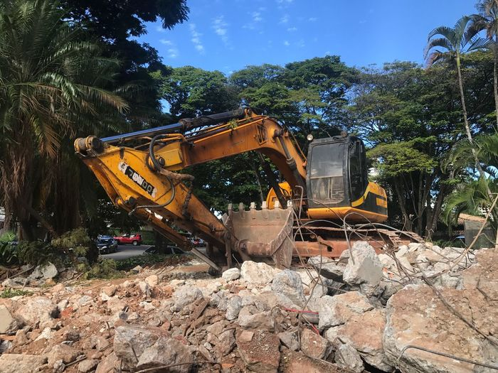 Earth Mover Construction Machinery Construction Site Tree Machinery Digging No People Day Growth Outdoors Sky Machine Sky And Clouds Destruction Heavy Moving Trees Operation