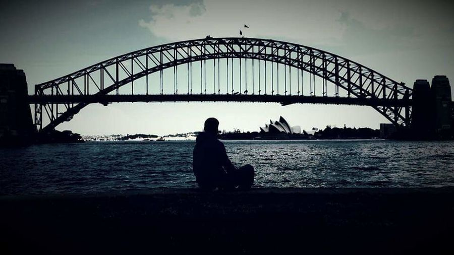Sydney Opera House Silhouette One Person People Full Length Bridge - Man Made Structure Outdoors Adults Only Sky Nature Adult Day harbour bridge