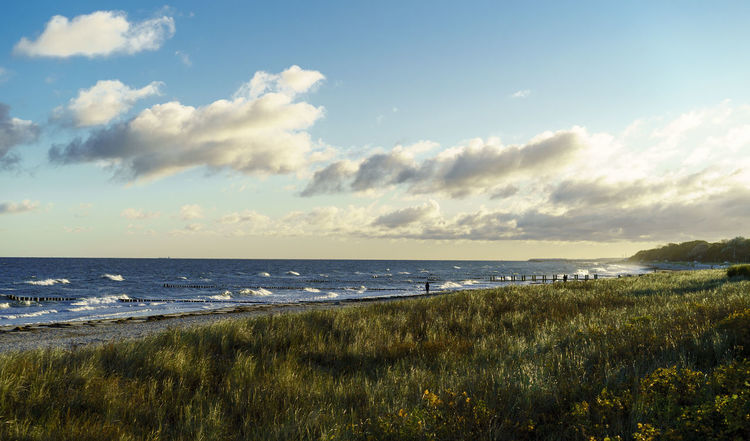 Morning scene at the baltic sea. Sea Beach Cloud - Sky Horizon Over Water Nature Sky Tranquility Water Scenics Outdoors Sand Vacations Tranquil Scene Beauty In Nature Day Landscape Travel Destinations Sunlight No People Autumn Nature Kuehlungsborn Baltic Baltic Sea Summer