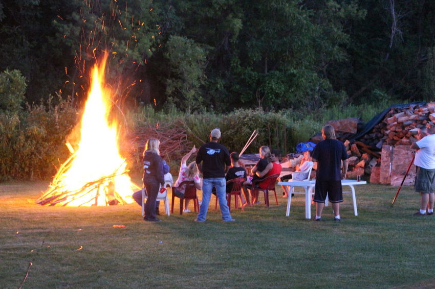 summer in the country, partys don't end when it gets datk Bonfire Burning Celebrations Country Life Country Lifestyle Field Flame Full Length Leisure Activity Medium Group Of People Outdoors People Real People Standing Togetherness