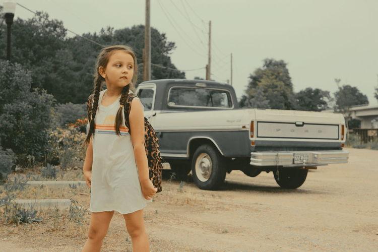 Child Childhood Adventure Standing Portrait Front View Road Trip Vehicle