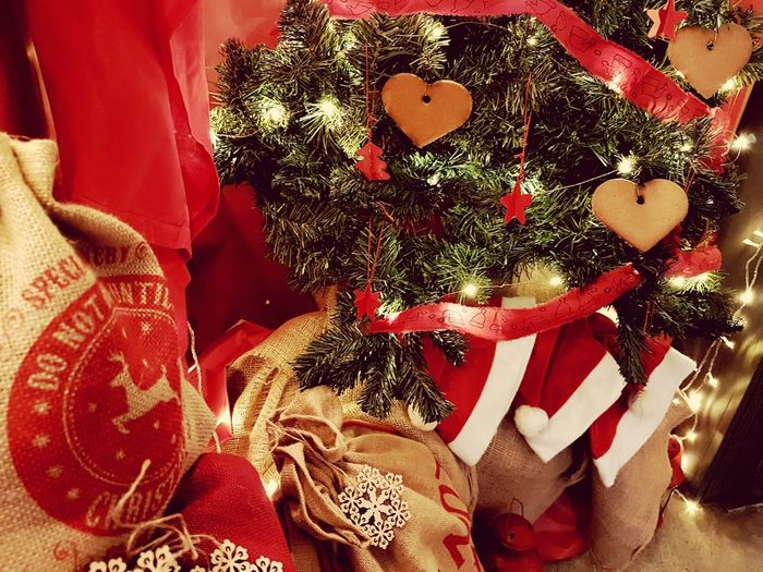 Christmas Decoration Red Christmas Close-up Santa Claus christmas tree Christmas Ornament Decorating The Christmas Tree Christmas Lights Candy Cane Ribbon Fabric Various Christmas Present Santa Hat