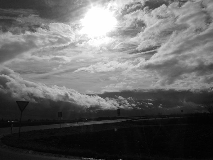 Photography♥ Black&white Car Ride  Way Silver Lining Sky And Clouds Big Love ♡