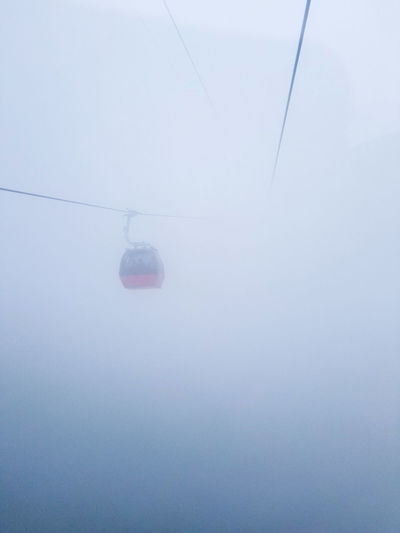 Beauty In Nature Cable Cable Car Cold Temperature Copy Space Day Fog Hanging Low Angle View Mode Of Transportation Nature No People Outdoors Overhead Cable Car Ski Lift Snow Tranquility Transportation Winter