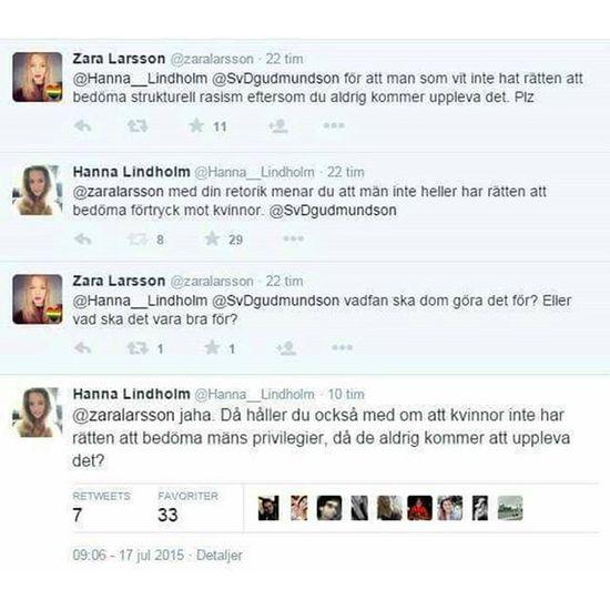 Oh! *snap* @hanna__lindholm får in en femetta mot @zaralarsson. Feminism Feminazism Hyckleri Hypocrisy