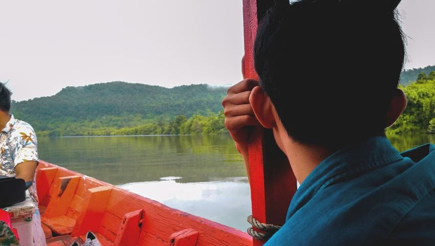 Water Lake Sitting Headshot Mid Adult Sky