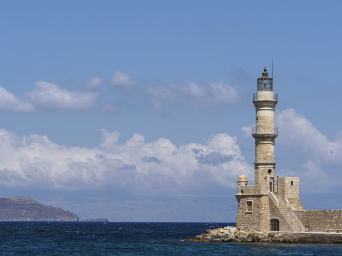 Lighthouse at Chania harbour Architecture Blue Built Structure Cloud - Sky Lighthouse Sea Sky Tranquil Scene Water