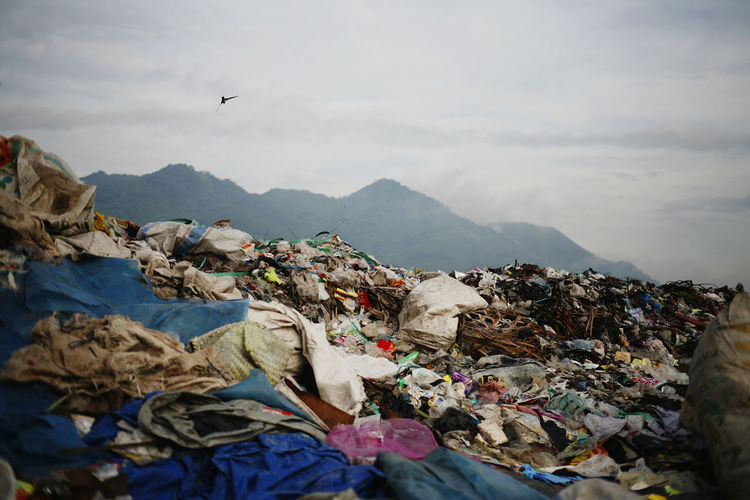 Garbage in mountains against sky