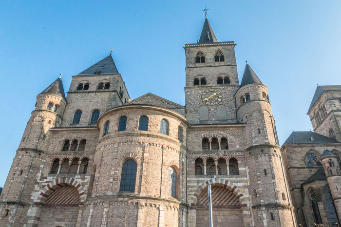 Trier Cathedral in Germany Architecture Building Exterior Built Structure Clear Sky Clock Tower Day History Low Angle View No People Outdoors Place Of Worship Religion Sky Spirituality Travel Destinations Trier Trier Cathd Trier Chur Trier City