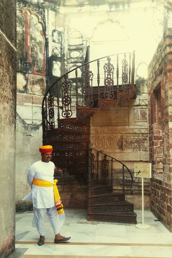One Person Day Outdoors Adult Architecture Fort Historic Staircase Old Rustic Style Turban Rajasthandiaries Culture And Tradition Colorful Incredibleindia Dhotikurta Local People Caretaker Jaisalmer Fort Old Is Gold