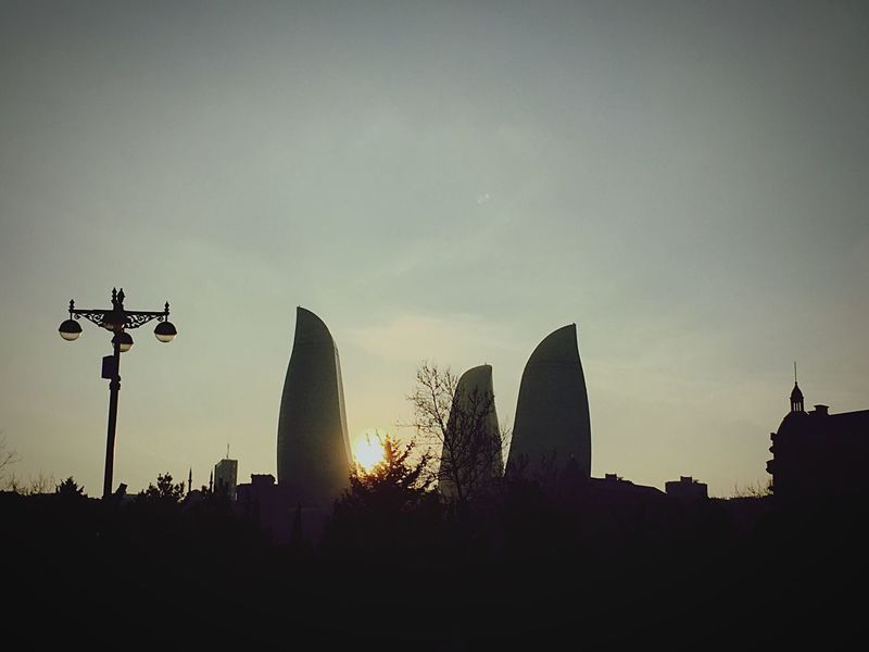 City Life Baku Urban Building Tower Flametowers Flame Towers Sunset 🌇 Stunning Sky