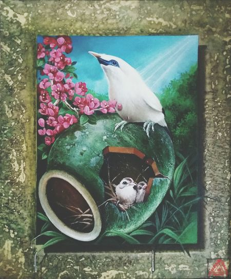 Bali Mynah ~ Original Oil Painting on Canvas ~ size 40x50cm. Made by Indonesian Artist . Animal Themes Bird Oilpaintings Originalpainting Oilonthecanvas Indonesianartist Iwansuhayafineart First Eyeem Photo