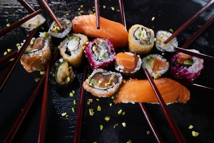 High angle view of sushi on barbecue