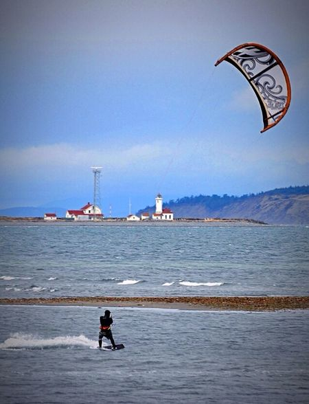 Kite Surfer in Puget Sound Surfing Kite Water Sport Lighthouse Nature_collection Water_collection Kite Surfing Capturing Freedom The Action Photographer - 2015 EyeEm Awards