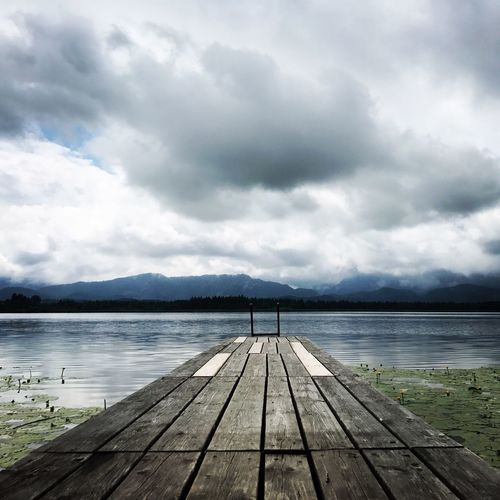 Bavarian alpine lake Alpine Lake Sky Cloud - Sky Water Pier Wood - Material Lake Nature Tranquility Landscape Outdoors Beauty In Nature Mountain Wood Paneling EyeEmNewHere