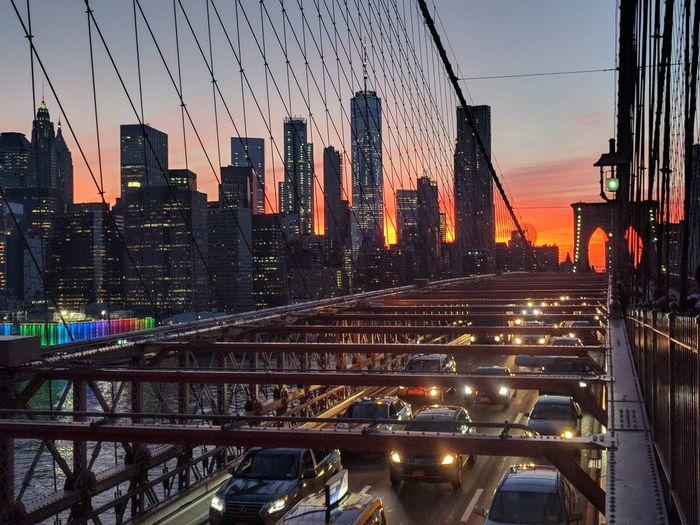 Brooklyn Bridge sunset EyeEmNewHere New York City Brooklyn Bridge / New York City Cityscape Urban Skyline Illuminated Skyscraper Sunset Dusk Sky Architecture Bridge - Man Made Structure Tower