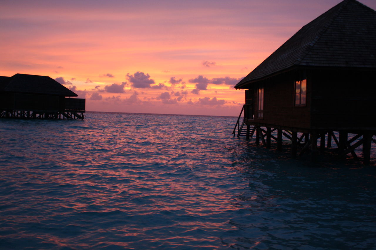 Over water villas at twilight