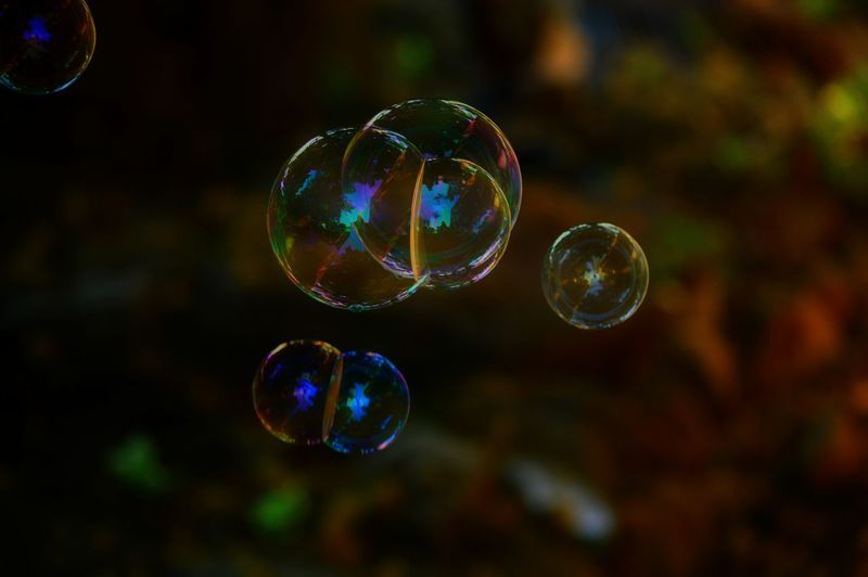 Close-up of bubbles in mid-air