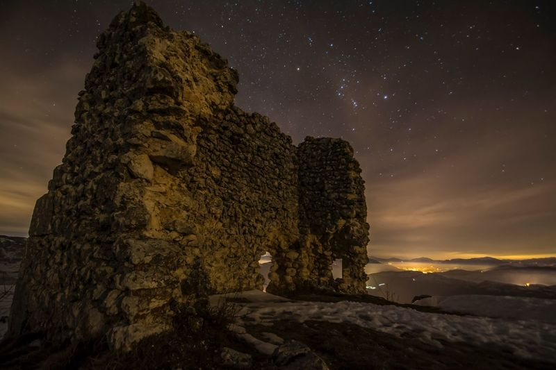 Night Sky Star - Space Old Ruin Astronomy Ancient Illuminated Outdoors No People Beauty In Nature Milky Way Nature Galaxy