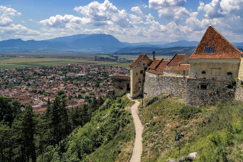 Romania Râșnov Architecture Beauty In Nature Building Exterior Built Structure Cloud - Sky Day History Landscape Medieval Architecture Medieval Castle Mountain Mountain Range No People Outdoors Relic Scenics Sky Travel Destinations