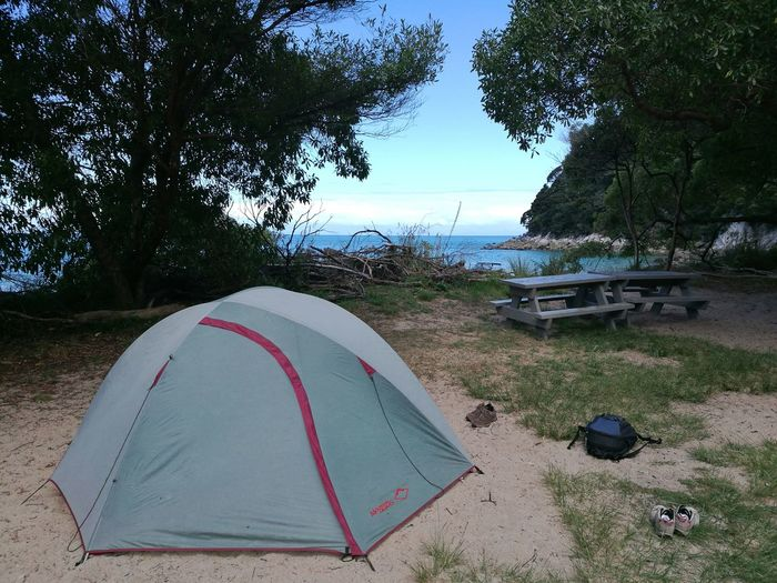 Our home for the evening. Tree Camping Sky Tranquility Cloud - Sky Vacations No People Nature Day Outdoors Beach Travel Destinations New Zealand Sea Nature Travel Scenics Trekking Abel Tasman Abel Tasman Nationalpark Adventure National Park Beauty In Nature Idyllic Journey