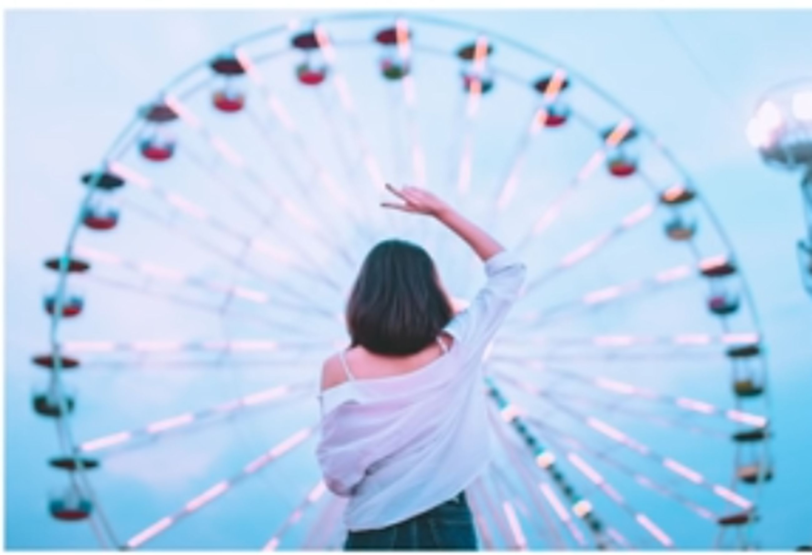 rear view, leisure activity, real people, one person, amusement park, amusement park ride, ferris wheel, women, lifestyles, casual clothing, arts culture and entertainment, enjoyment, standing, nature, adult, outdoors, focus on foreground, child, hairstyle