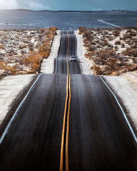 Carpet road scene over desert of california