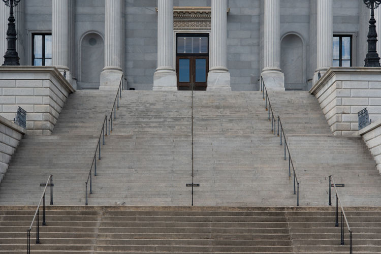 Architecture Staircase Built Structure Steps And Staircases Building Exterior No People Building Day Low Angle View Façade Outdoors Entrance History Architectural Column South Carolina State House