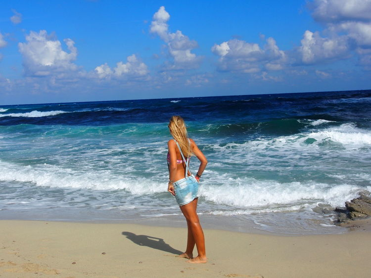Alone Beach Beautiful Woman Beauty In Nature Blond Hair Blonde Girl Dreaming Holiday Horizon Over Water Leisure Activity Majorca Mallorca Sea Sea And Sky Shore Summer Thinking Thinking About Life Travel Alone Travelling Vacation Vacations Wave Windy Day Young Women