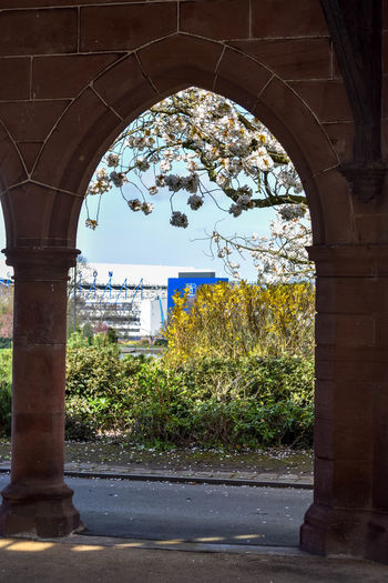 Arch Architecture Building Exterior Built Structure Day Goodison Park Gothic Arch Light And Shadow No People Outdoors Park Buildings Sandstone Tree Everton Goodison Park
