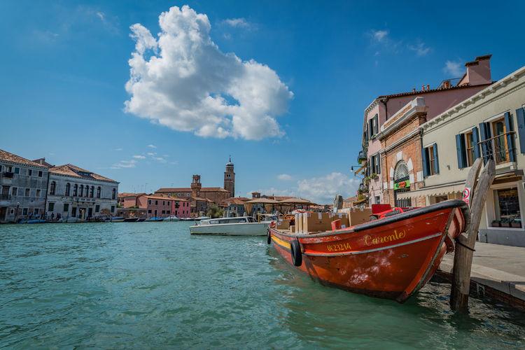 Murano Gondola Gondole In Venice Murano Murano Italia Murano Island Venice Canals Venice, Italy Water Front  Beauty Beauty Italy Clouds And Sky Gondola - Traditional Boat