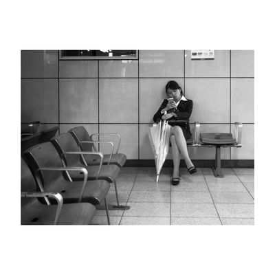 """My cell & I "" series The Street Photographer - 2014 EyeEm Awards Tokyo Black And White"