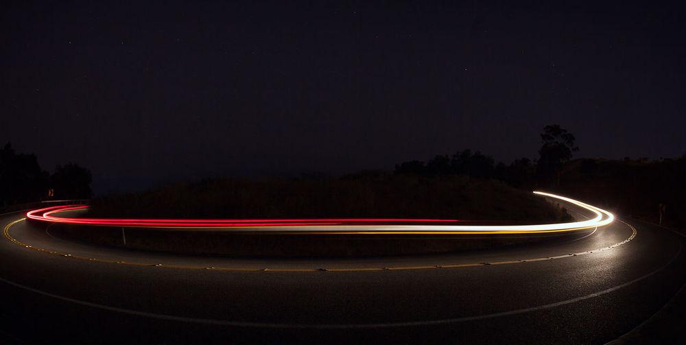 California Illuminated Light Trail Long Exposure Motion Night No People Outdoors Palos Verdes, CA Switchbacks
